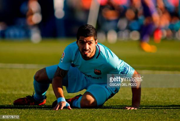 Barcelona's Uruguayan forward Luis Suarez reacts during the Spanish league football match Leganes vs Barcelona at the Butarque stadium in Leganes on...
