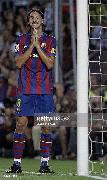 Barcelona's Zlatan Ibrahimovic gestures during their Spanish Supercup second leg football match Barcelona vs Athletic Bilbao at the New Camp Stadium...