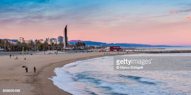 barceloneta beach and the city skyline. barcelona, spain. - la barceloneta stock pictures, royalty-free photos & images