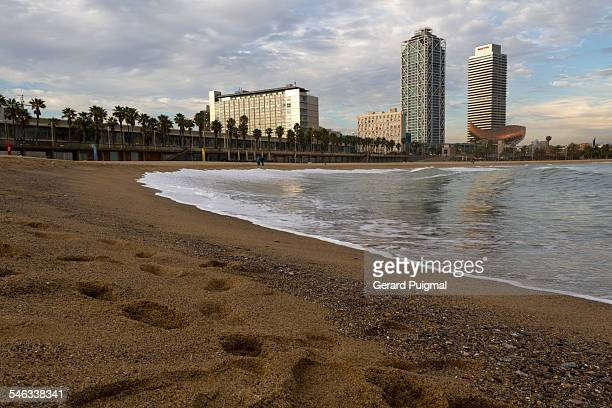Barceloneta Beach in Barcelona in the afternoon Picture taken in December 2013