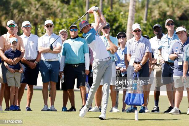 Barclay Brown of Team Great Britain and Ireland plays his shot from the third tee during Saturday singles matches of Day One of The Walker Cup at...