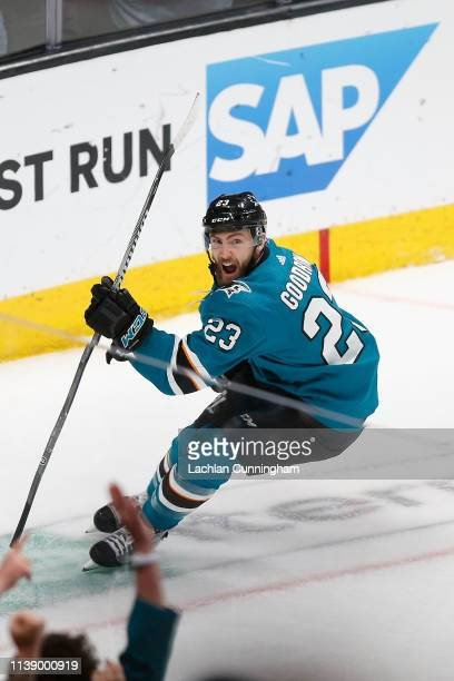 Barclay Goodrow of the San Jose Sharks celebrates after scoring the gamewinning goal in overtime against the Vegas Golden Knights in Game Seven of...