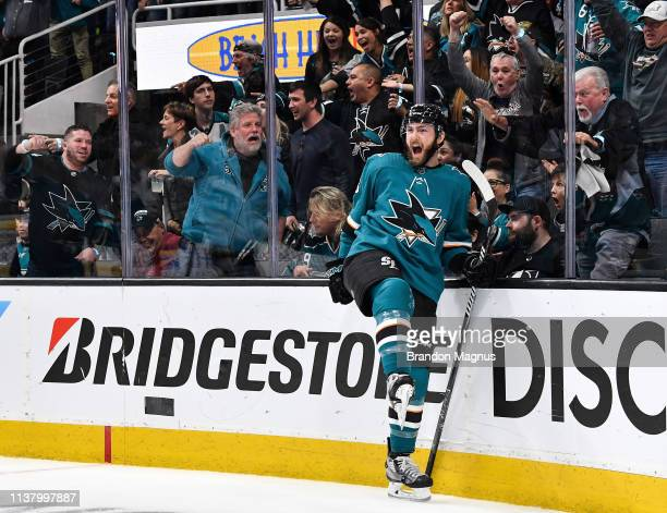 Barclay Goodrow of the San Jose Sharks celebrates scoring a goal against the Vegas Golden Knights in Game Five of the Western Conference First Round...