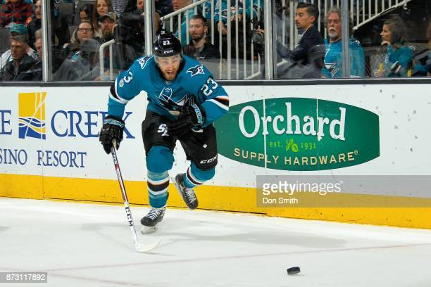 Barclay Goodrow of the San Jose Sharks chases the puck during a NHL game against the Tampa Bay Lightning at SAP Center on November 8 2017 in San Jose...