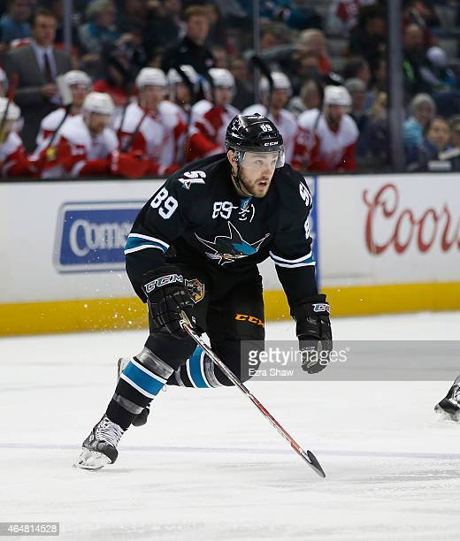 Barclay Goodrow of the San Jose Sharks in action against the Detroit Red Wings at SAP Center on February 26 2015 in San Jose California