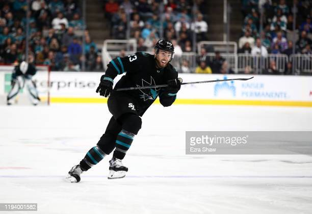 Barclay Goodrow of the San Jose Sharks in action against the New York Rangers at SAP Center on December 12 2019 in San Jose California
