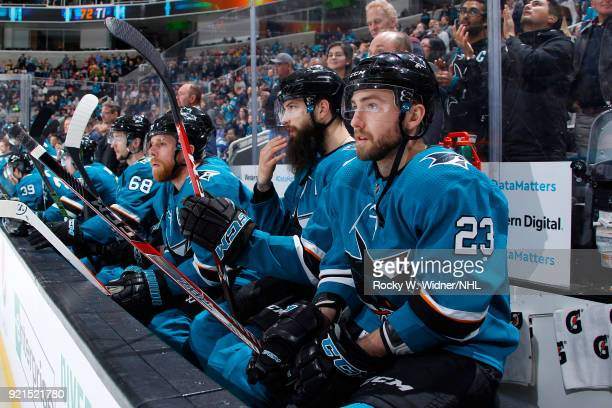 Barclay Goodrow of the San Jose Sharks looks on during the game against the Vancouver Canucks at SAP Center on February 15 2018 in San Jose California