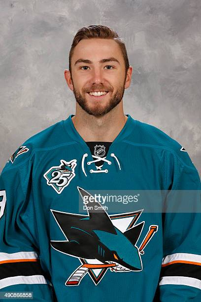 Barclay Goodrow of the San Jose Sharks poses for his official headshot for the 201516 season on September 17 2015 at Sharks Ice in San Jose California