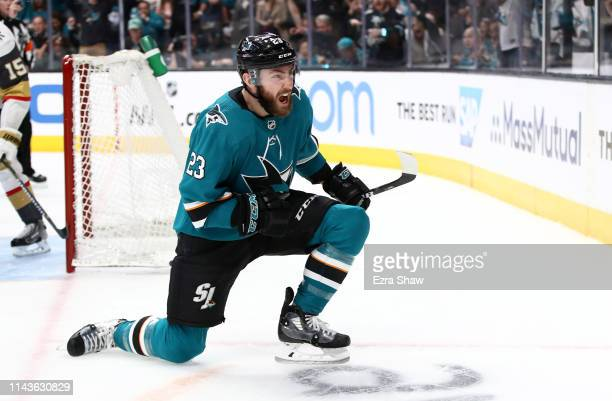 Barclay Goodrow of the San Jose Sharks reacts after he scored a goal on MarcAndre Fleury of the Vegas Golden Knights in the second period in Game...