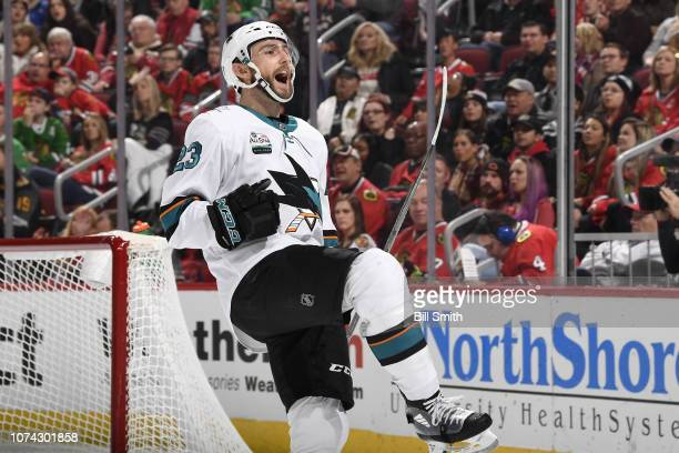 Barclay Goodrow of the San Jose Sharks reacts after scoring against the Chicago Blackhawks in the second period at the United Center on December 16...