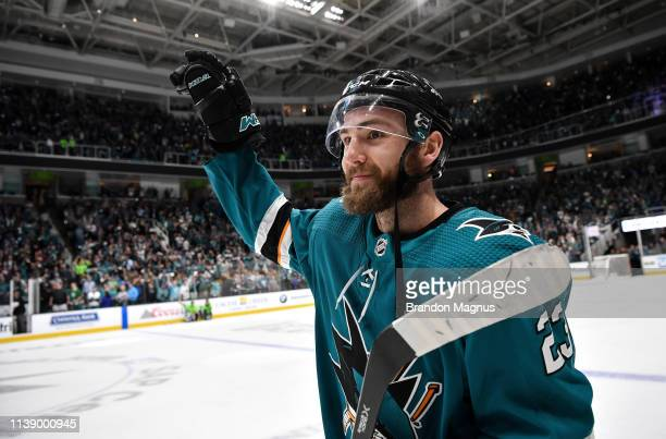Barclay Goodrow of the San Jose Sharks salutes the crowd after the win against the Vegas Golden Knights in Game Seven of the Western Conference First...