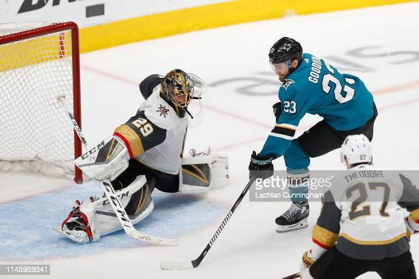 Barclay Goodrow of the San Jose Sharks scores a goal in overtime against MarcAndre Fleury of the Vegas Golden Knights in Game Seven of the Western...