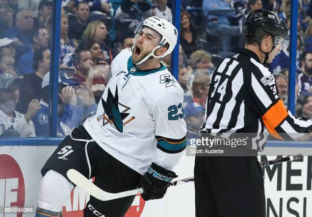 Barclay Goodrow of the San Jose Sharks scores against the Tampa Bay Lightning during the first period at Amalie Arena on December 2 2017 in Tampa...