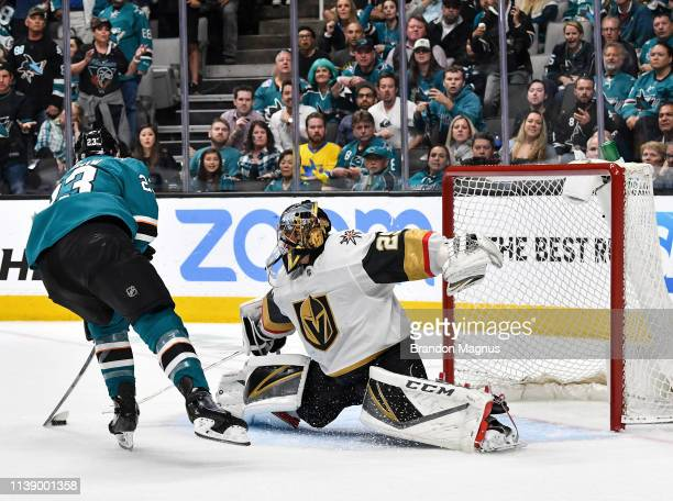 Barclay Goodrow of the San Jose Sharks scores the gamewinning goal against MarcAndre Fleury of the Vegas Golden Knights in Game Seven of the Western...
