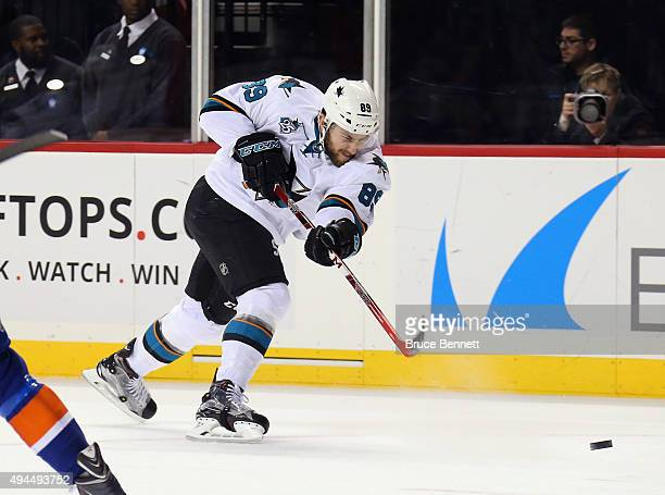 Barclay Goodrow of the San Jose Sharks skates against the New York Islanders at the Barclays Center on October 17 2015 in the Brooklyn borough of New...
