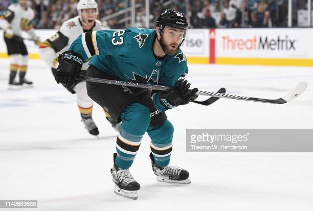 Barclay Goodrow of the San Jose Sharks skates against the Vegas Golden Knights during the second period in Game Two of the Western Conference First...
