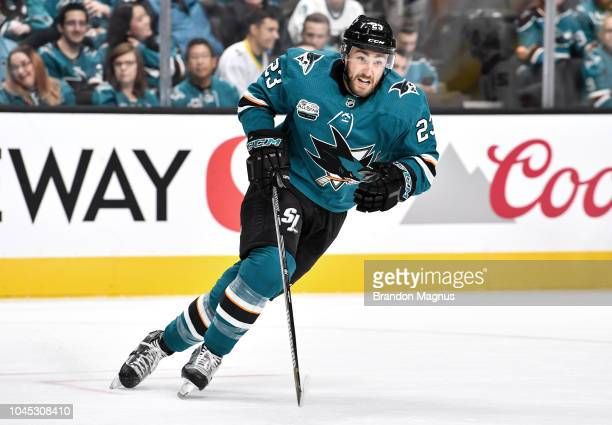 Barclay Goodrow of the San Jose Sharks skates back to the play against the Anaheim Ducks at SAP Center on October 3 2018 in San Jose California