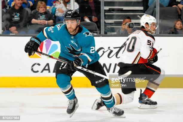 Barclay Goodrow of the San Jose Sharks skates during a NHL game against the Anaheim Ducks at SAP Center on November 4 2017 in San Jose California