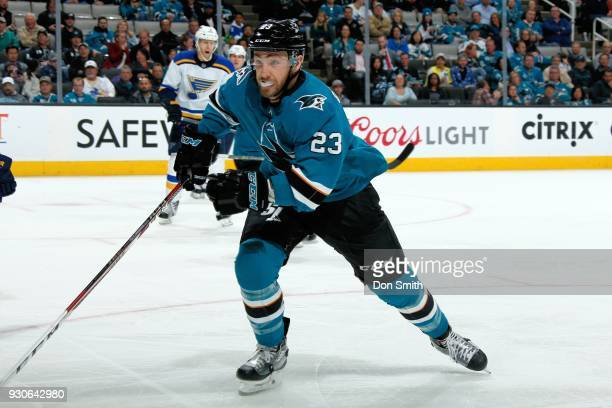 Barclay Goodrow of the San Jose Sharks skates during a NHL game against the St Louis Blues at SAP Center on March 8 2018 in San Jose California