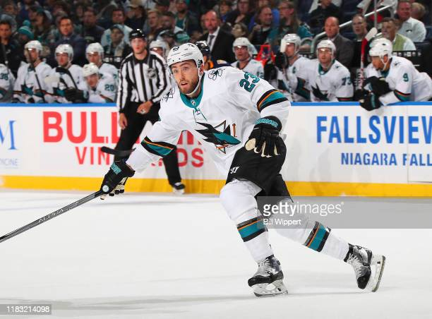 Barclay Goodrow of the San Jose Sharks skates during an NHL game against the Buffalo Sabres on October 22 2019 at KeyBank Center in Buffalo New York...