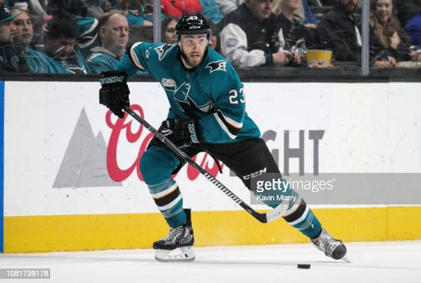 Barclay Goodrow of the San Jose Sharks skating ahead with the puck against the Ottawa Senators at SAP Center on January 12 2018 in San Jose California