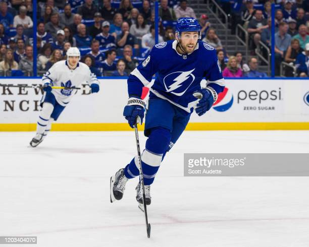 Barclay Goodrow of the Tampa Bay Lightning skates in his team debut against the Toronto Maple Leafs during the first period at Amalie Arena on...