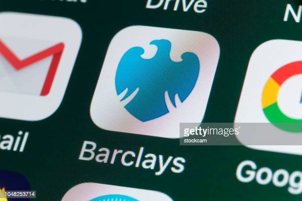 barclaybank, gmail, google drive, and other apps on iphone screen - barclays brand name stock photos and pictures