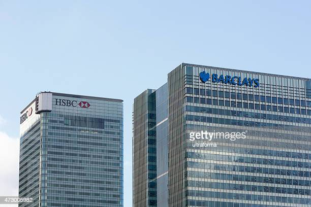 barclays and hsbc headquarters in london - barclays brand name stock pictures, royalty-free photos & images