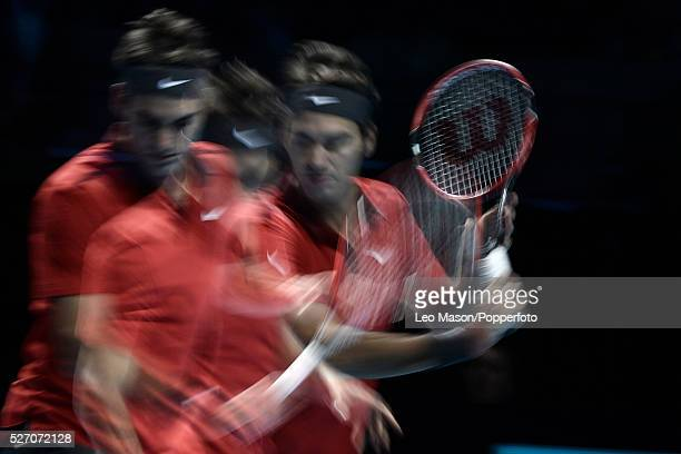 Barclays ATP World Tennis Tour Finals o2 Arena London UK Roger Federer SUI Vs Milos Raonic CAN Federer in action during the match