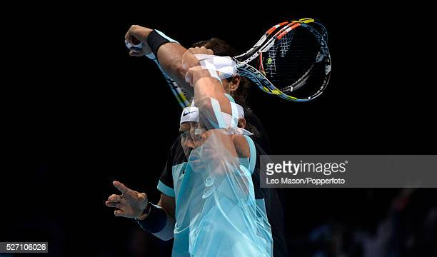 Barclays ATP World Tour Finals 02 Arena London UK Andy Murray GBR v Rafael Nadal ESP Nadal in action during the match which he won 64 61