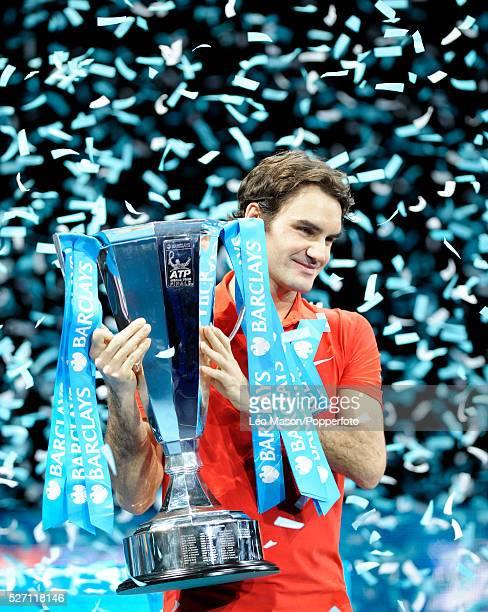Barclays ATP World Tour Finals 02 Arena London UK Final match Rafael Nadal ESP vs Roger Federer SUI Federer won in 3 sets 63 36 61 Roger Federer with...