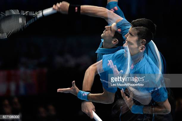 Barclays ATP World Tour Finals 02 Arena London UK Novak Djokovic SRB v Roger Federer SUI Djokovic in action during the match which was won by Federer...