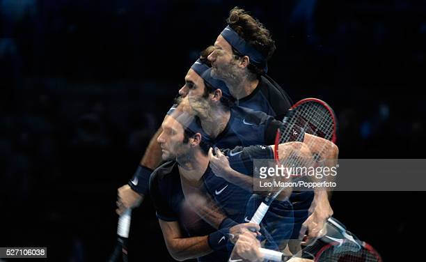 Barclays ATP World Tour Finals 02 Arena London UK Novak Djokovic SRB v Roger Federer Roger Federer in action during the match which he won 75 62