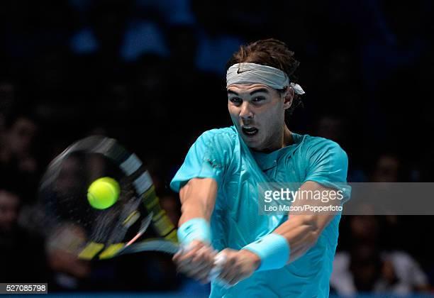 Barclays ATP World tour Finals at the 02 Arena London UK Final Novak Djokovic v Rafael Nadal Nadal in action during the final