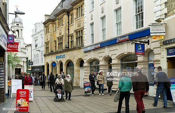 barclays bank and nationwide in london street, norwich - barclays brand name stock photos and pictures