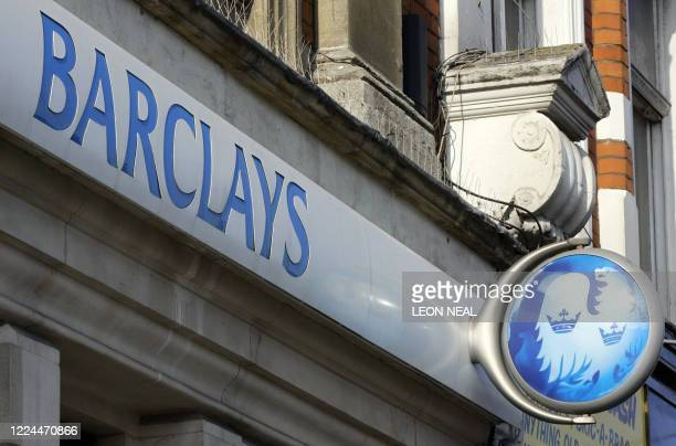 A Barclays Bank branch signboard is pictured in North London 21 February 2006 Barclays Bank unveiled Tuesday record year profits of £528bn with its...