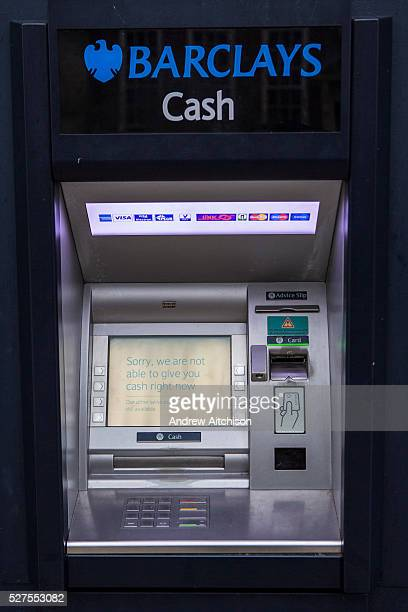 A Barclays bank cash machine displaying the message 'Sorry we are not able to give you cash right now' on a street in London England United Kingdom...