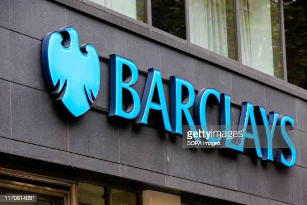 Barclays Bank logo seen in London