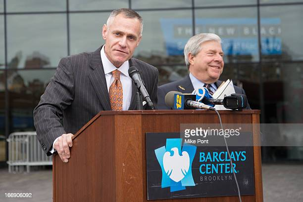 Barclays Center and Brooklyn Nets CEO Brett Yormark and Brooklyn Borough President Marty Markowitz attend the announcement of Paul McCartney's return...