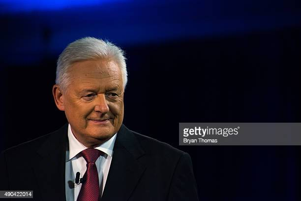 Barclay's Chairman John McFarlane is introduced to the crowd during the Clinton Global Initiative Annual Meeting at the Sheraton Hotel and Towers on...