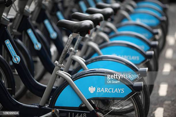 Barclays Cycle Hire bikes are parked in their docking stations in central London on February 15 2011 in London England Barclays banking group has...