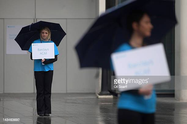 Barclays employees direct shareholders to the Barclays bank AGM in the Royal Festival Hall on April 27 2012 in London England It has been reported...