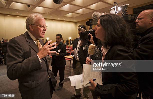 Barclays Group Chief Executive John Varley talks to the press after a press conference on April 23 2007 in Amsterdam Netherlands Barclays bank has...