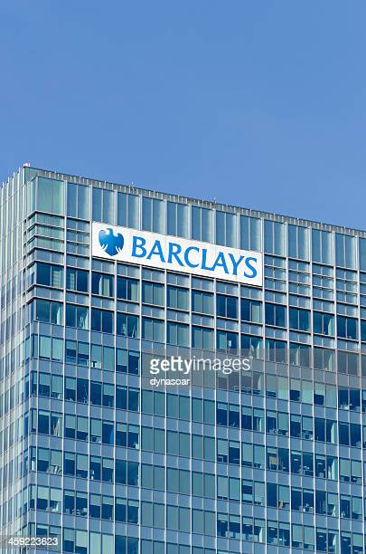 barclays group headquarters, canary wharf, london - barclays brand name stock photos and pictures