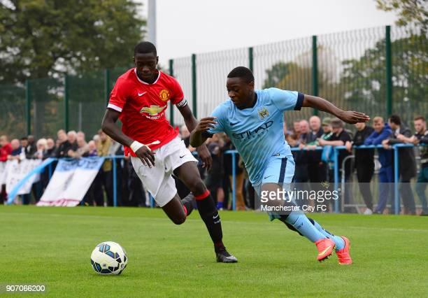 Barclays Premier Academy League Manchester City U18 v Manchester United U18 Platt Lane Manchester City's Aaron Nemane and Manchester United's Axel...