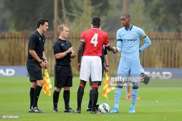 Barclays Premier Academy League Manchester City U18 v Manchester United U18 Platt Lane Manchester City's Tosin Adarabioyo and Manchester United's...