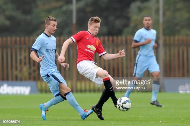 Barclays Premier Academy League Manchester City U18 v Manchester United U18 Platt Lane Manchester City's Bersant Celina and Manchester United's Scott...