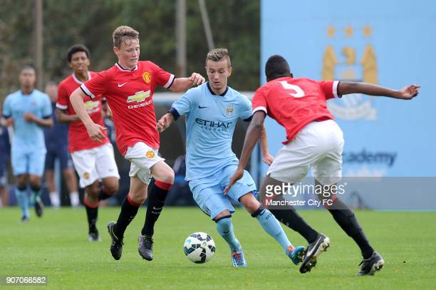 Barclays Premier Academy League Manchester City U18 v Manchester United U18 Platt Lane Manchester City's Bersant Celina takes on Manchester United's...