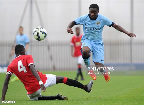 Barclays Premier Academy League Manchester City U18 v Manchester United U18 Platt Lane Manchester City's Aaron Nemane skips a challenge from...