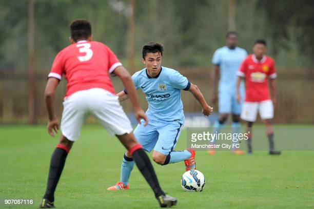 Barclays Premier Academy League Manchester City U18 v Manchester United U18 Platt Lane Manchester City's Manuel Garcia Alonso in action against...